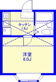 洋室:6.0J、キッチン:1.8J、ロフト:約4J