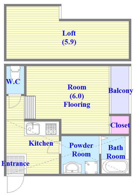 RESTAURO ロフト付きの3点セパレートのお部屋になります。