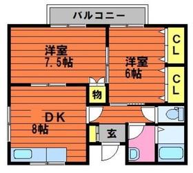 シャインハイツ総社 B1階Fの間取り画像