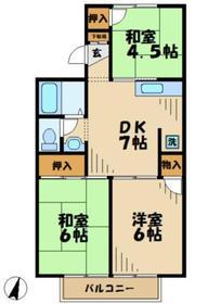 コーポアリセイ2階Fの間取り画像