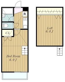 ラプルーネⅡ2階Fの間取り画像