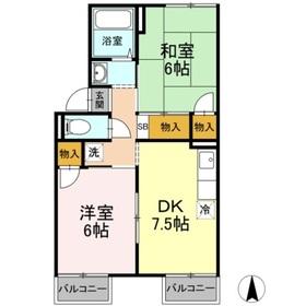 メゾンドタカハタ2階Fの間取り画像