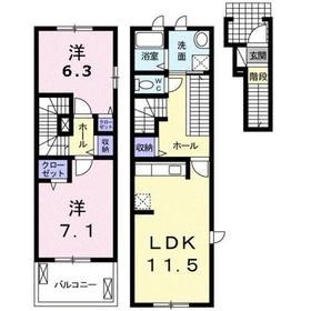 パレ・ソレイユⅢ2階Fの間取り画像