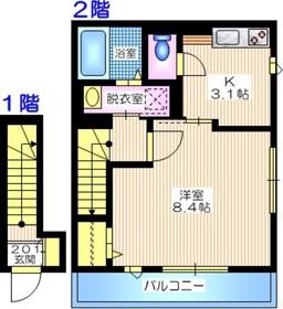 FERIO KAJIGAYA2階Fの間取り画像