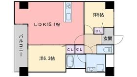 レジディア西新6階Fの間取り画像