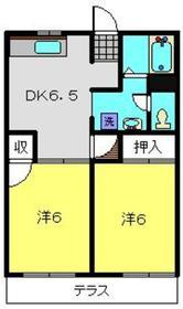グリーンヒルC2階Fの間取り画像