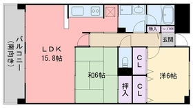インペリアル大賀 Ⅱ7階Fの間取り画像
