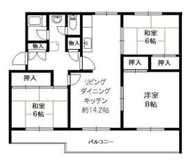 洋光台南第1住宅13号棟5階Fの間取り画像