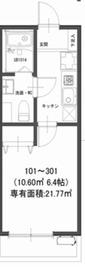 モダンアパートメント鶴見豊岡1階Fの間取り画像