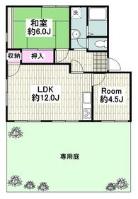 逗子駅 バス7分「葉桜」徒歩6分1階Fの間取り画像