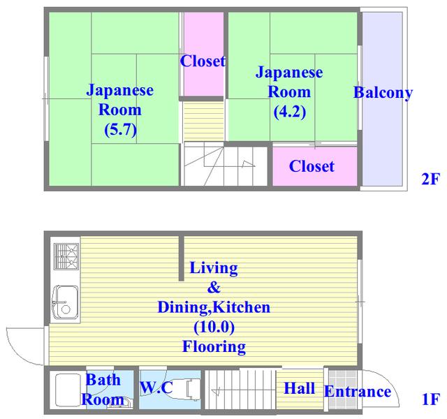 長田3-1-35 貸家 和室のあるゆったりした間取です。一度ご覧ください。