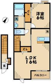 鶴川駅 車13分4.0キロ2階Fの間取り画像