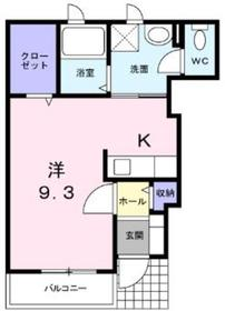 サウザンコートA1階Fの間取り画像