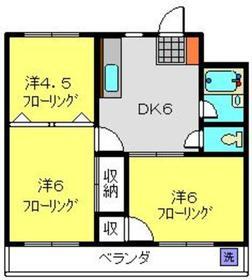 築山コーポ2階Fの間取り画像