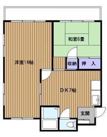 三殿台マンション2階Fの間取り画像