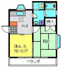 室の木坂ガーデニア1階Fの間取り画像