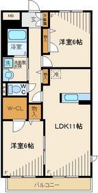 レグランナカノ6号館2階Fの間取り画像