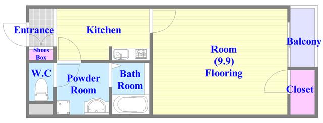 パル七曲 バス・トイレがセパレート、各所に収納がある使いやすい間取り。