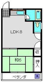 内田ハイツ3階Fの間取り画像