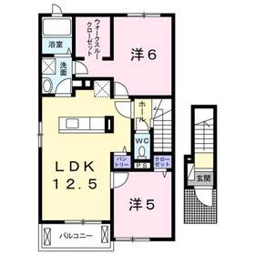 二宮駅 バス7分「おおいそ学園」徒歩3分2階Fの間取り画像