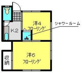 こがね荘2階Fの間取り画像