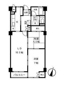 第二藤生ハイツ2階Fの間取り画像