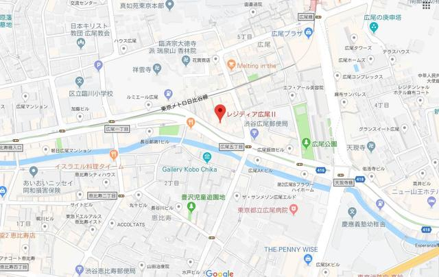広尾駅 徒歩7分案内図