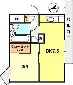 堤ハイツ3階Fの間取り画像