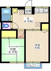 中山駅 徒歩14分2階Fの間取り画像