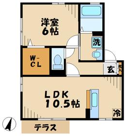 厚木駅 車21分6.6キロ2階Fの間取り画像