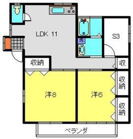 栴檀荘2階Fの間取り画像