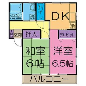 中宿レジデンスB棟1階Fの間取り画像