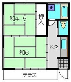 藤巻アパート1階Fの間取り画像
