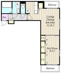 町屋1丁目アパート3階Fの間取り画像