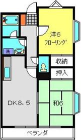 青山コーポA棟1階Fの間取り画像