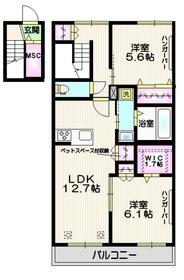 桜区下大久保メゾン2階Fの間取り画像