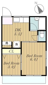 福寿コーポ2階Fの間取り画像