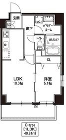 Grazia Kamata3階Fの間取り画像