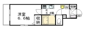 アベニューコート イタニ A.Y2階Fの間取り画像