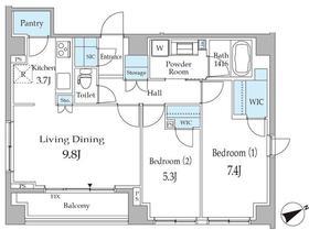 ピエール・リヴィエール白金台Ⅱ2階Fの間取り画像