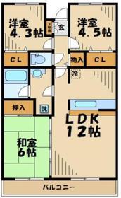 ピースフルタウン栗木台イーストテラス2階Fの間取り画像
