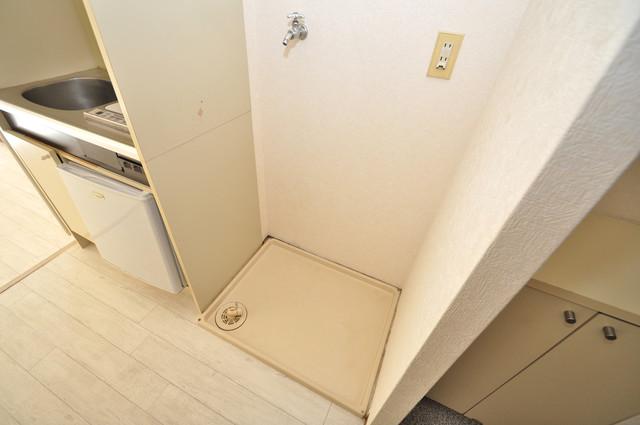 グランピア布施 嬉しい室内洗濯機置場。これで洗濯機も長持ちしますね。