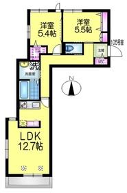 レジデンスGINKGO1階Fの間取り画像