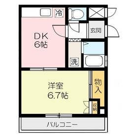 コーポシマ4階Fの間取り画像