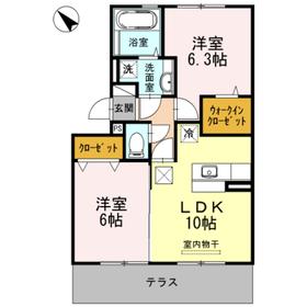 ディアコート桜木2階Fの間取り画像
