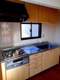 窓のあるキッチン(3口コンロのシステムキッチン)