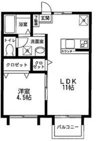 サンコーポ石田2階Fの間取り画像