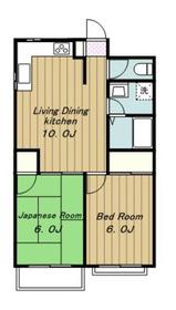 下田第三マンション2階Fの間取り画像