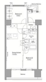 ザ・パークハビオ目黒2階Fの間取り画像