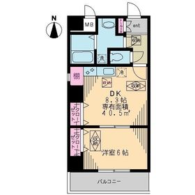 リベア東神田8階Fの間取り画像
